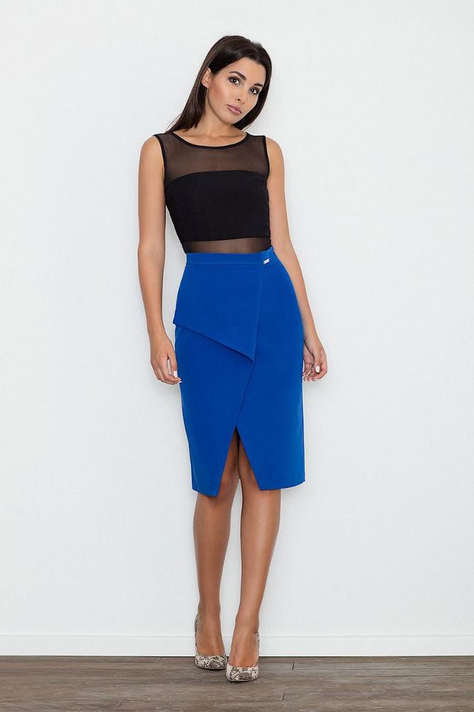 CM3256 Dopasowana spódnica z rozcięciem - niebieska
