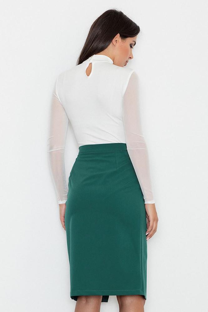 CM3256 Dopasowana spódnica z rozcięciem - zielona