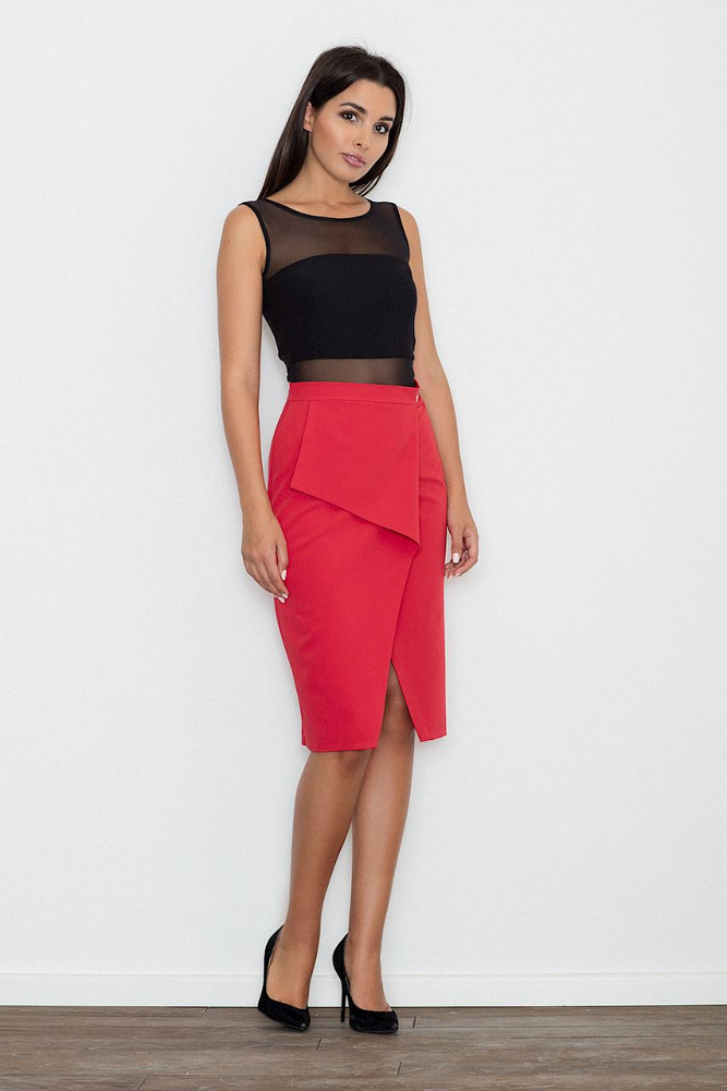 CM3256 Dopasowana spódnica z rozcięciem - czerwona