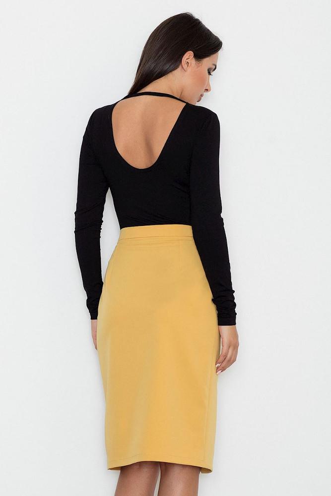 CM3256 Dopasowana spódnica z rozcięciem - żółta