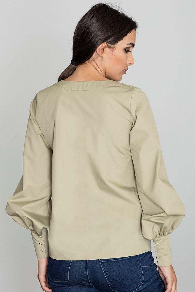 CM3258 Bluzka koszulowa z bufiastymi rękawami - oliwkowa