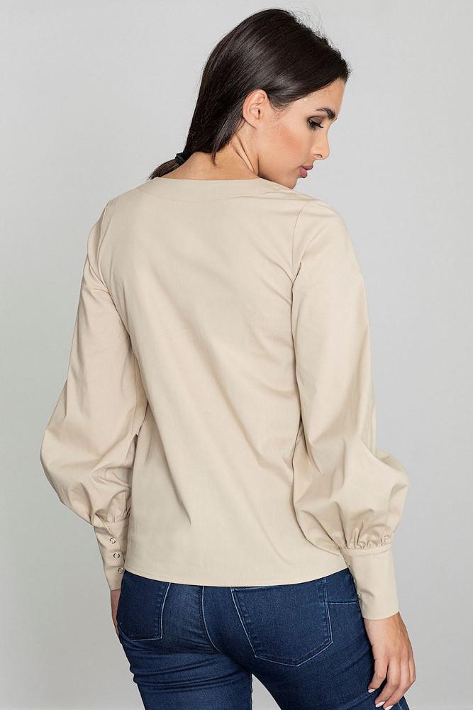CM3258 Bluzka koszulowa z bufiastymi rękawami - beżowa