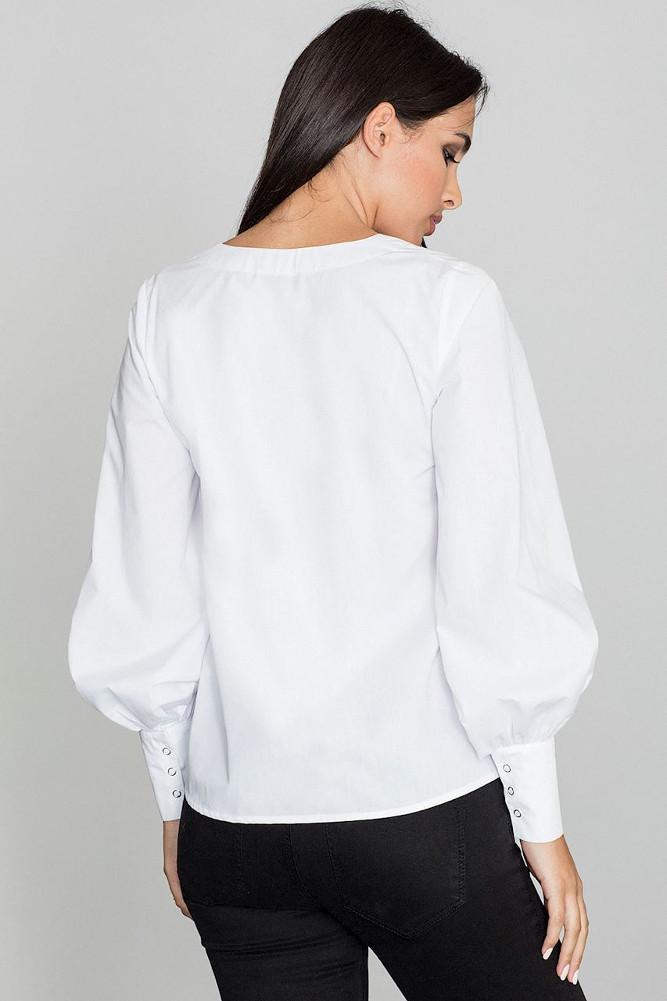 CM3258 Bluzka koszulowa z bufiastymi rękawami - biała