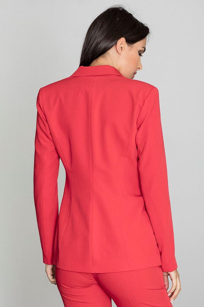 CM3259 Elegancki zapinany żakiet - czerwony