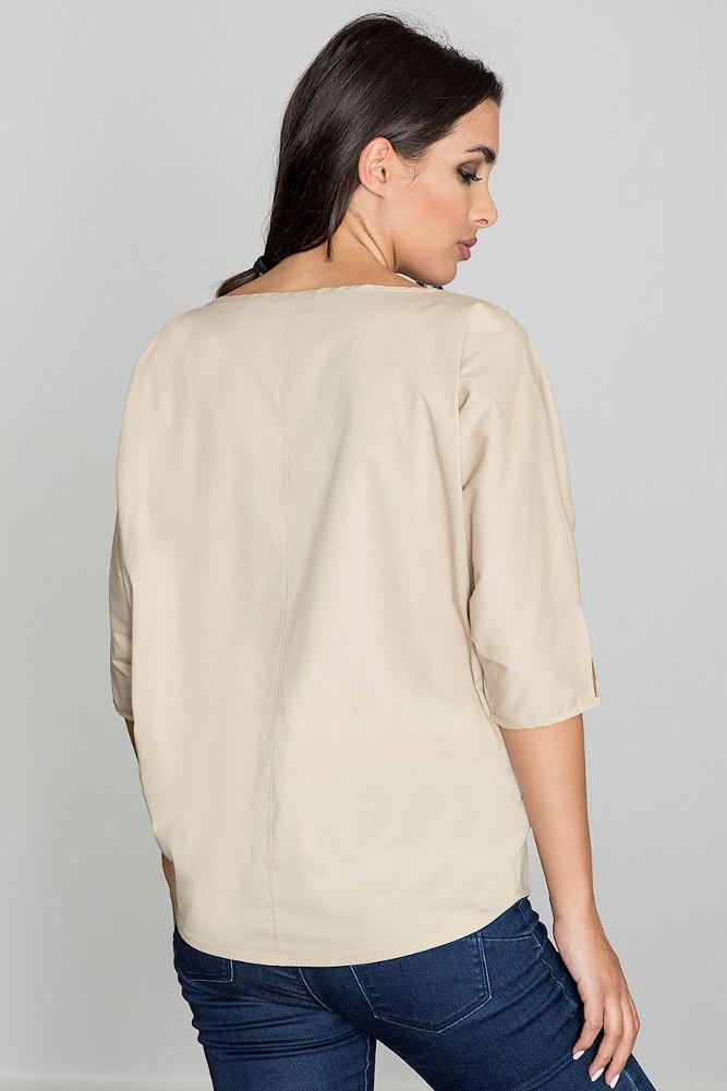 CM3260 Lekka zwiewna bluzka z rękawem 3/4 - beżowa