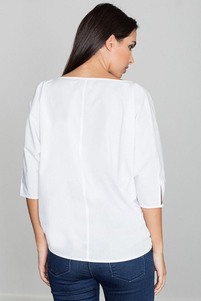CM3260 Lekka zwiewna bluzka z rękawem 3/4 - biała
