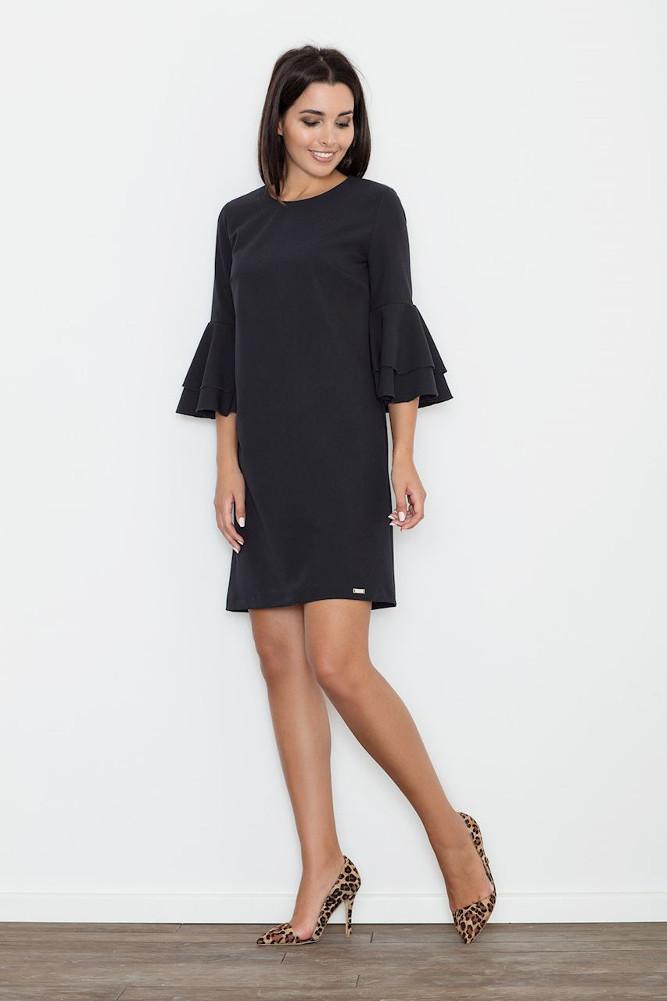 CM3261 Trapezowa sukienka z rękawami w falbany - czarna