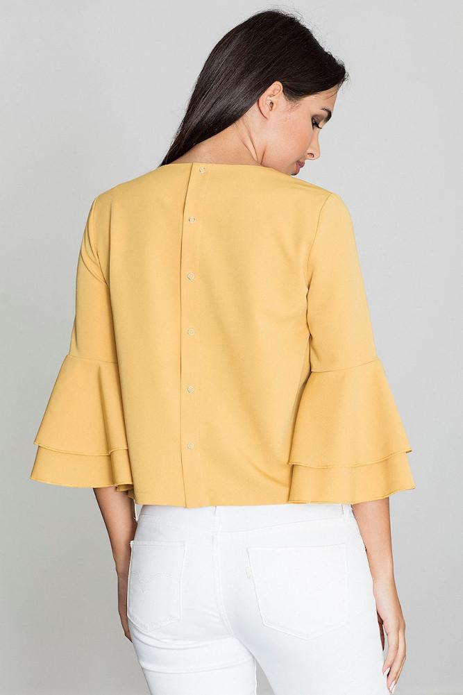 CM3262 Krótka bluzka z rękawami w falbany - żółta