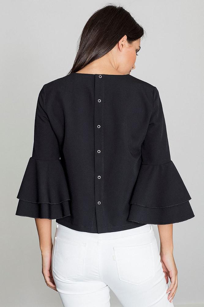 CM3262 Krótka bluzka z rękawami w falbany - czarna