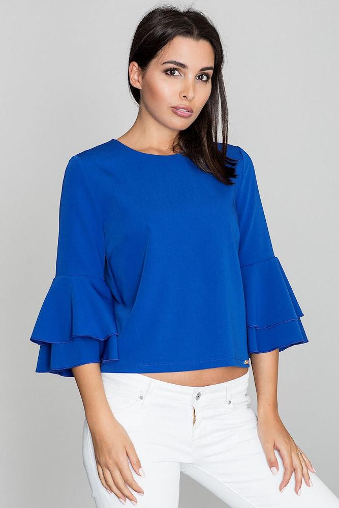 CM3262 Krótka bluzka z rękawami w falbany - niebieska