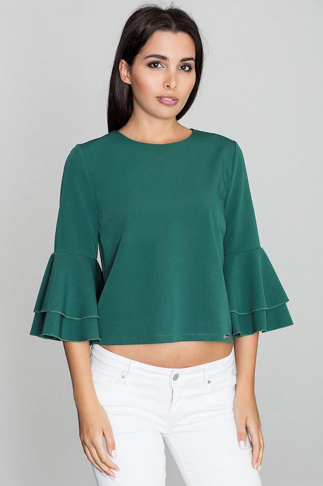 CM3262 Krótka bluzka z rękawami w falbany - zielona