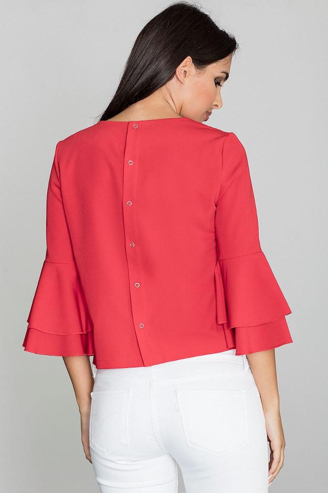 CM3262 Krótka bluzka z rękawami w falbany - czerwona