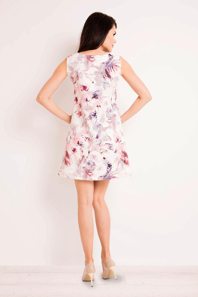 CM3267 Prosta trapezowa sukienka w kwiaty - kwiaty-ciemne