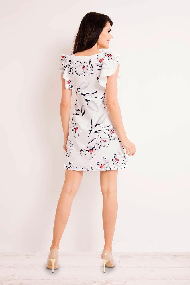 CM3268 Prosta elegancka sukienka w kwiaty - ecru