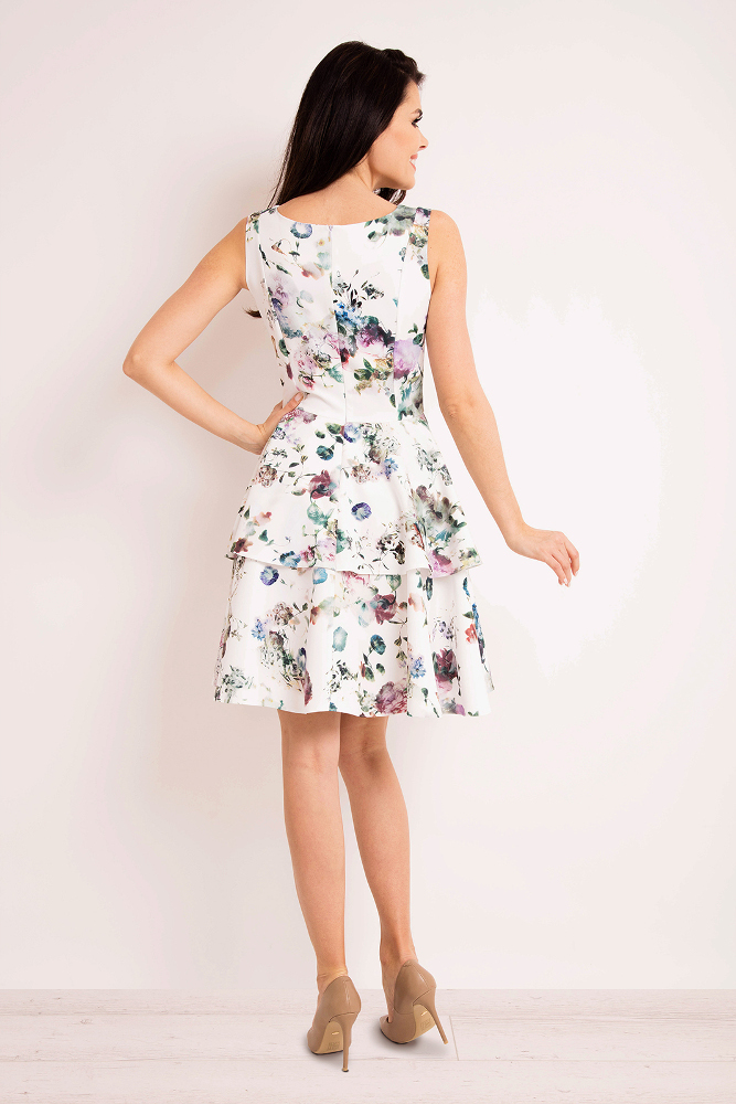 CM3271 Rozkloszowana sukienka mini - ecru