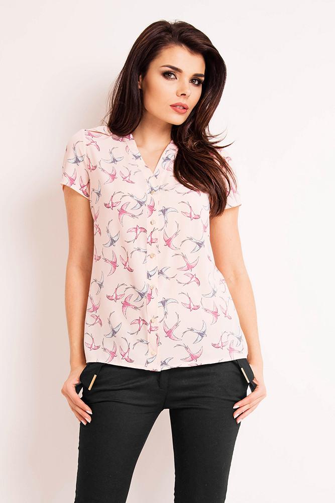CM3272 Prosta koszula w ptaki z krótkim rękawem - różowa