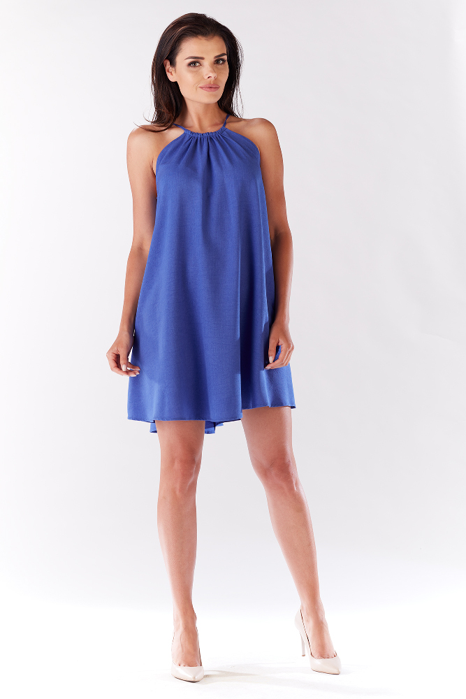 CM3277 Krótka sukienka na ramiączkach - niebieska