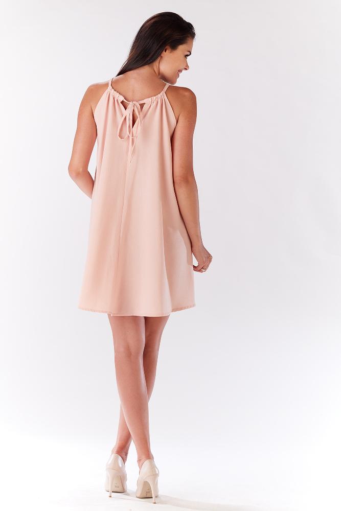CM3277 Krótka sukienka na ramiączkach - pudrowa