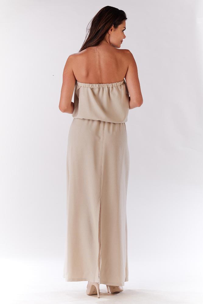 CM3278 Zwiewna sukienka maxi - beżowa