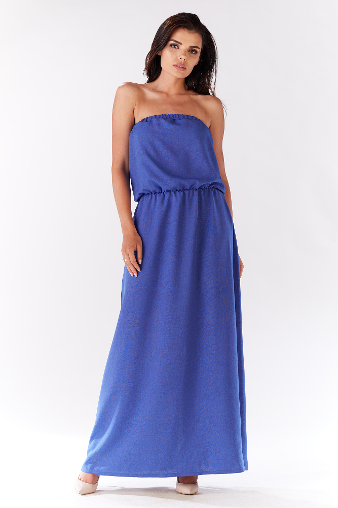 CM3278 Zwiewna sukienka maxi - niebieska