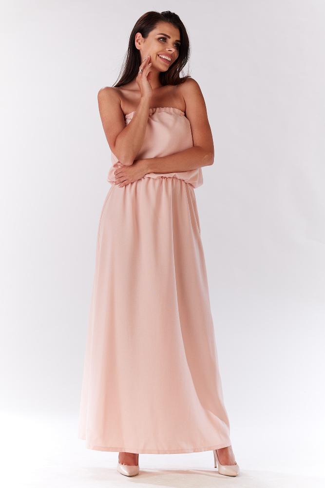 CM3278 Zwiewna sukienka maxi - pudrowa