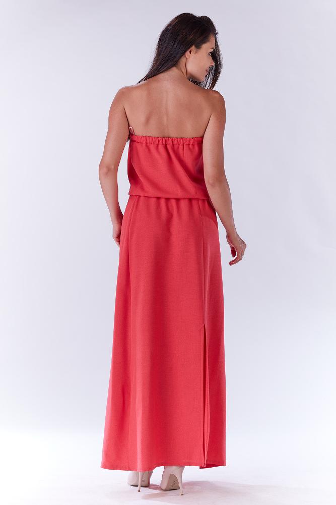 CM3278 Zwiewna sukienka maxi - różowa