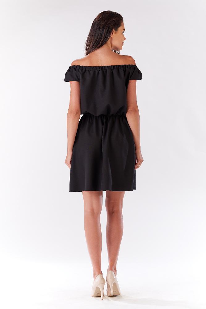 CM3279 Zwiewna sukienka na ramiączkach z marszczeniami - czarna
