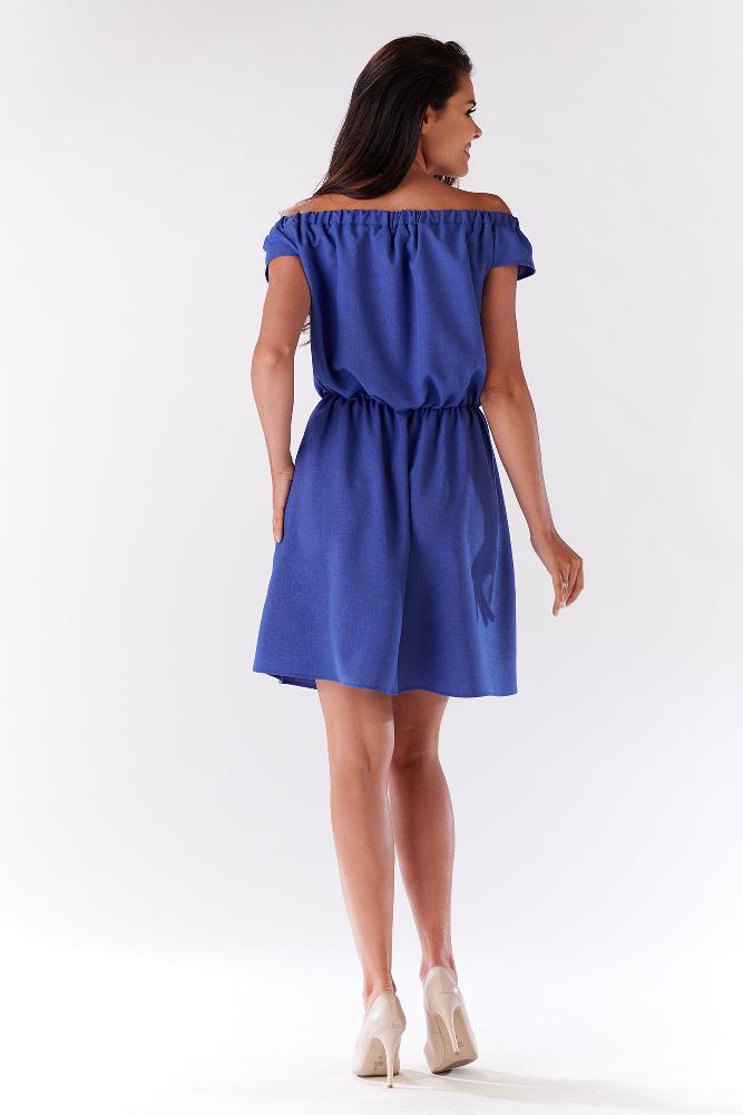 CM3279 Zwiewna sukienka na ramiączkach z marszczeniami - niebieska