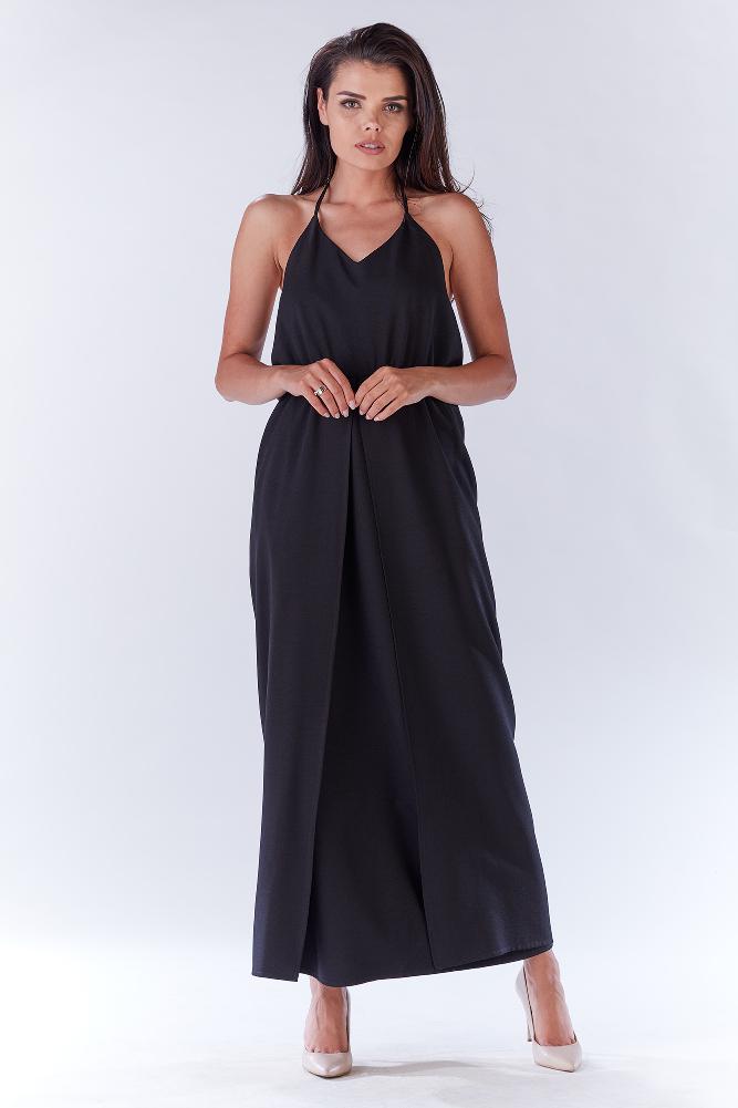 7b11e4a842 CM3280 Kobieca sukienka z rozcięciem z boku - czarna ...