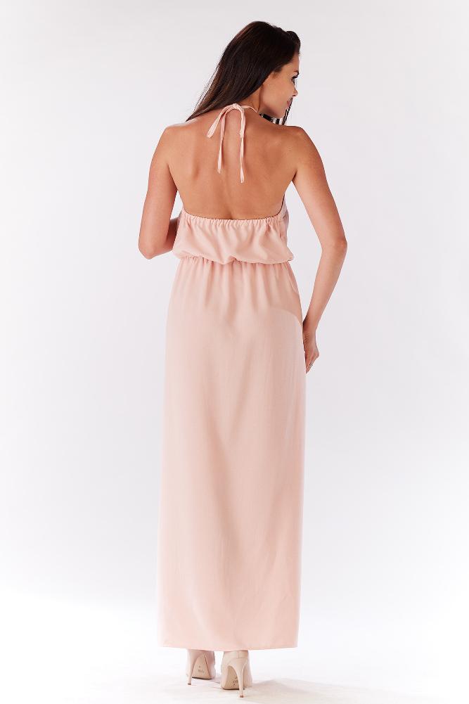 CM3280 Kobieca sukienka z rozcięciem z boku - pudrowa