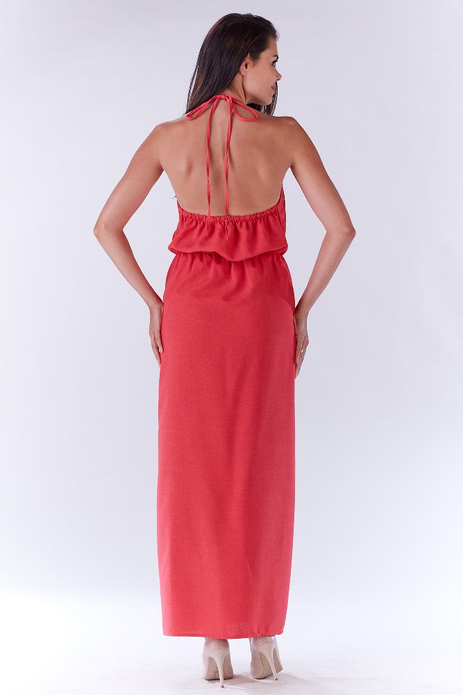 CM3280 Kobieca sukienka z rozcięciem z boku - różowa