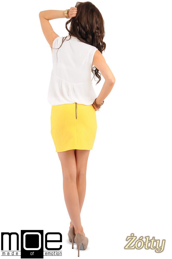 CM0223 Mini spódniczka z dzianiny złoty zamek - żółta