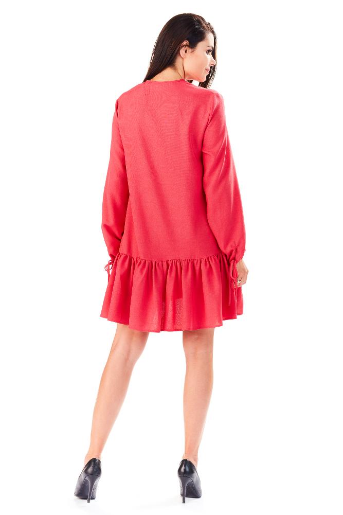 CM3288 Luźna sukienka mini z falbanką - różowa