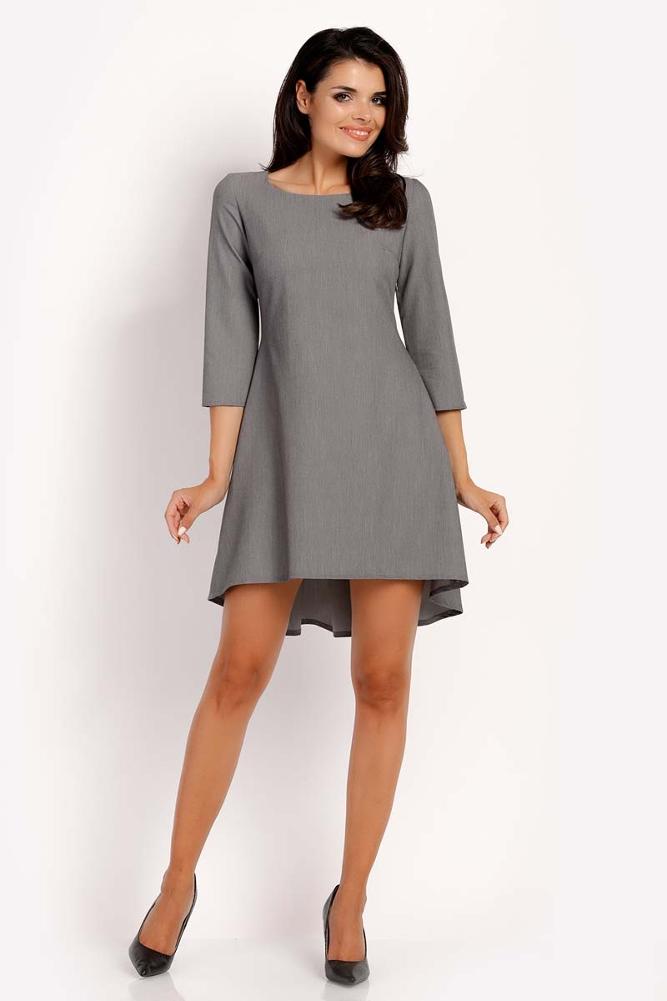 CM3292 Trapezowa sukienka z rękawem 3/4 - szara