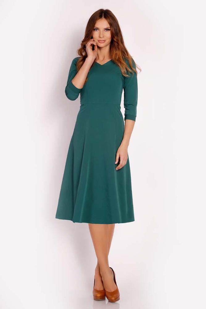 CM3293 Elegancka dopasowana sukienka w kontrafałdy - zielona