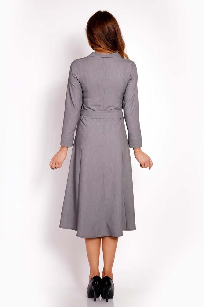 CM3294 Nowoczesna sukienka midi - szara