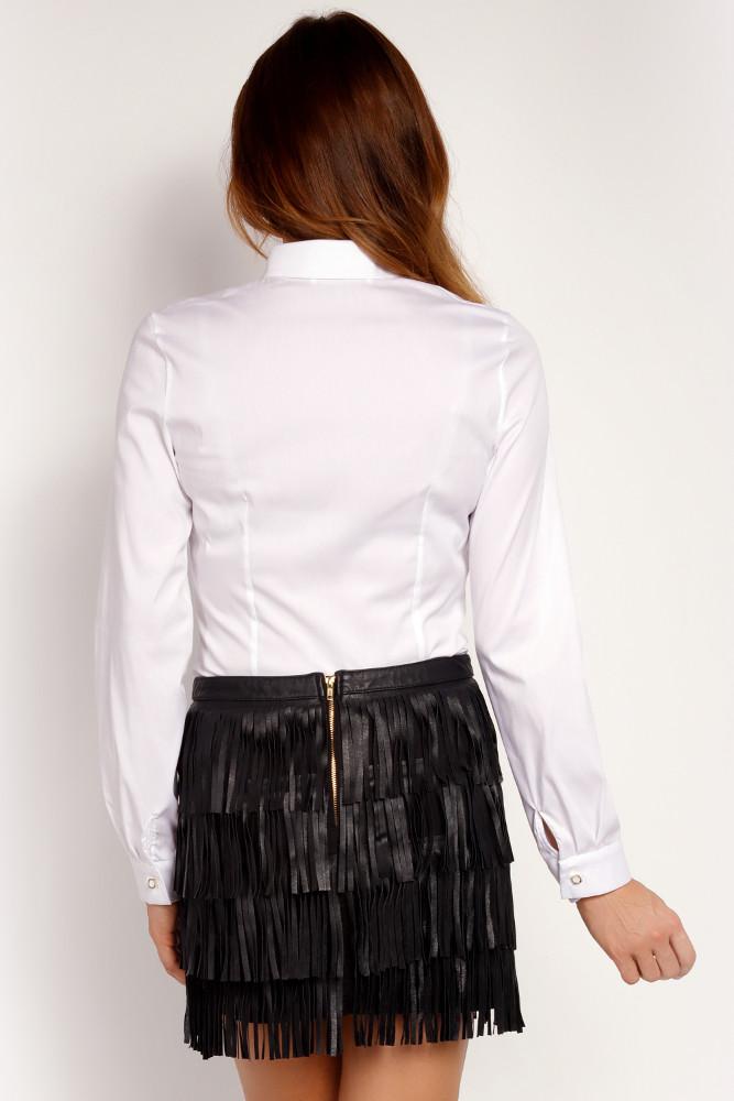 CM3297 Klasyczna zapinana koszula damska - biała