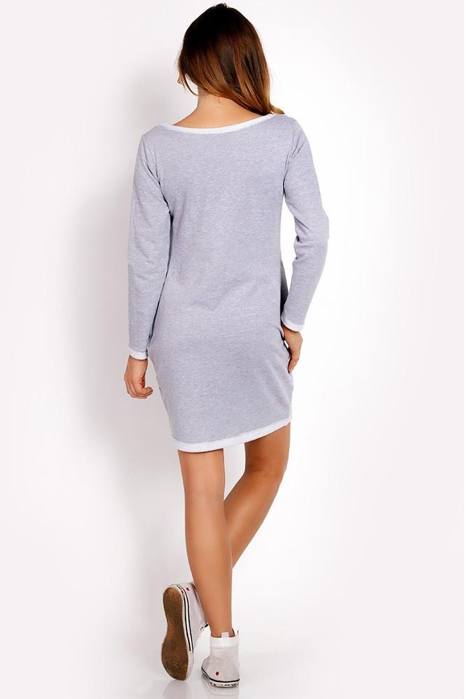 CM3318 Dresowa sukienka z długim rękawem - szara