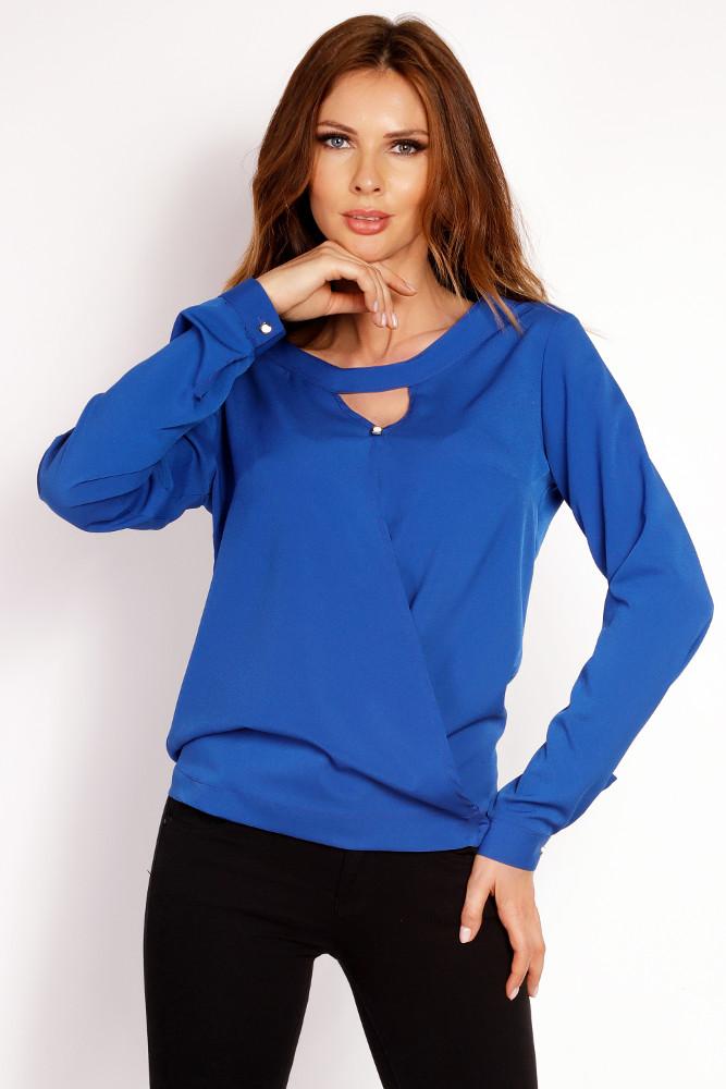 CM3321 Bluzka z wyciętym dekoltem - niebieska