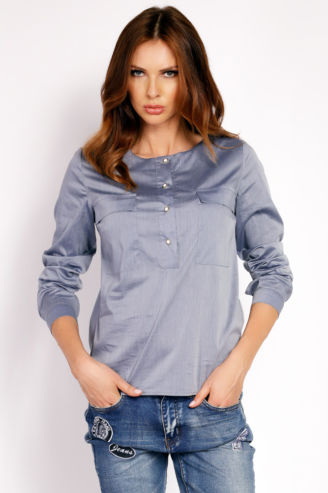 CM3323 Biurowa bluzka koszulowa - szara
