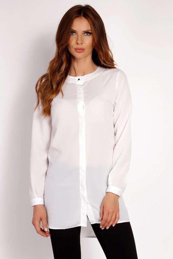 CM3324 Gładka prosta koszula - ecru