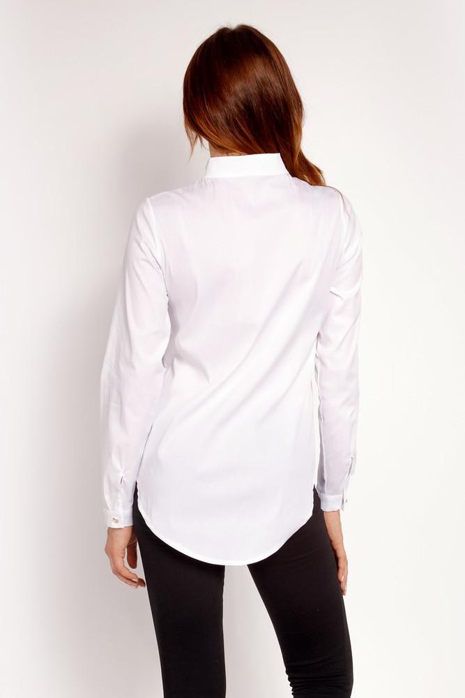 CM3325 Elegancka koszula ze stójką - biała