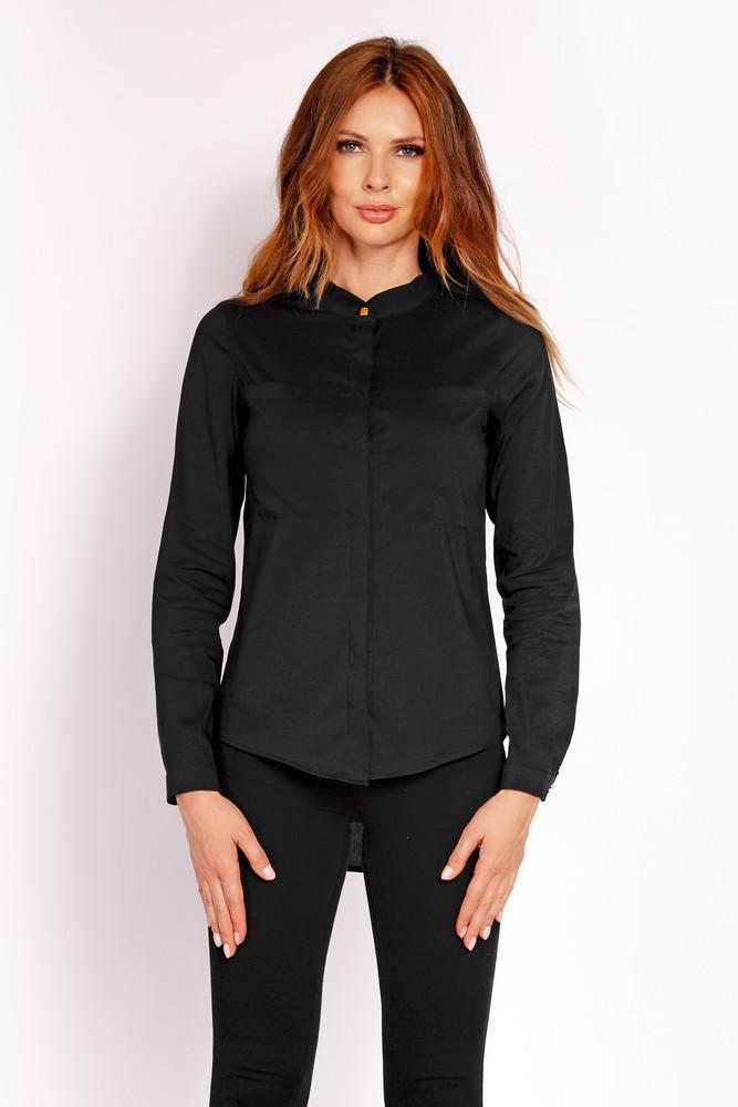 CM3325 Elegancka koszula ze stójką - czarna