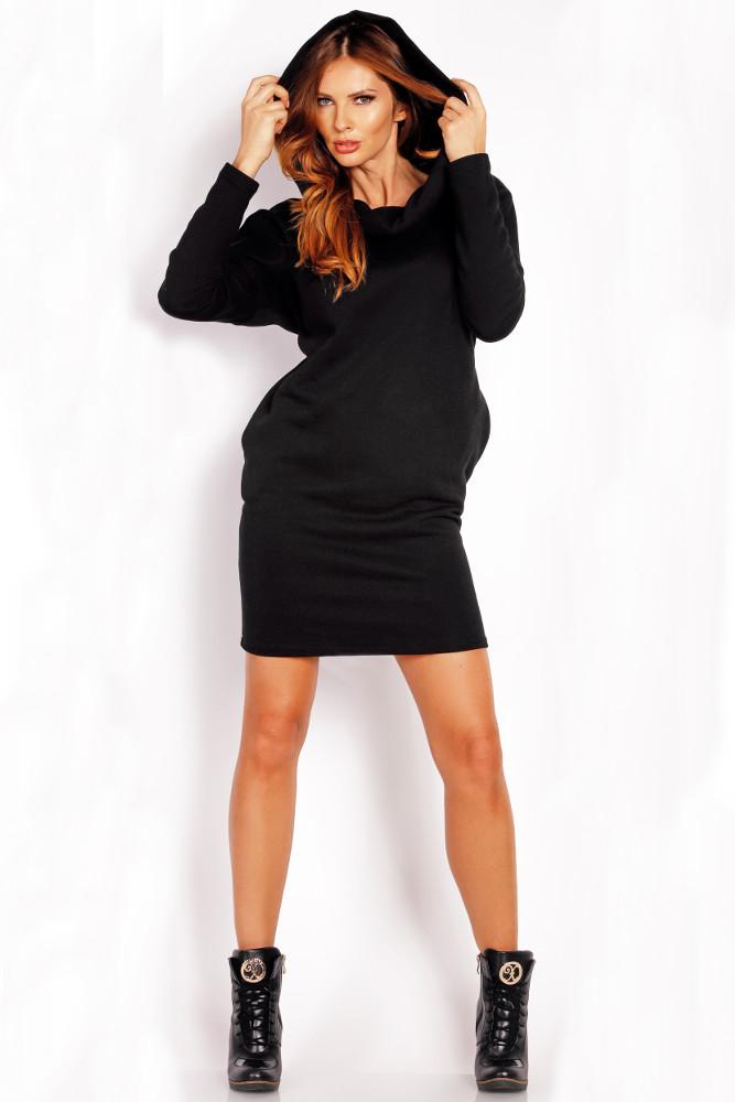CM3327 Bawełniana sukienka z kapturem - czarna