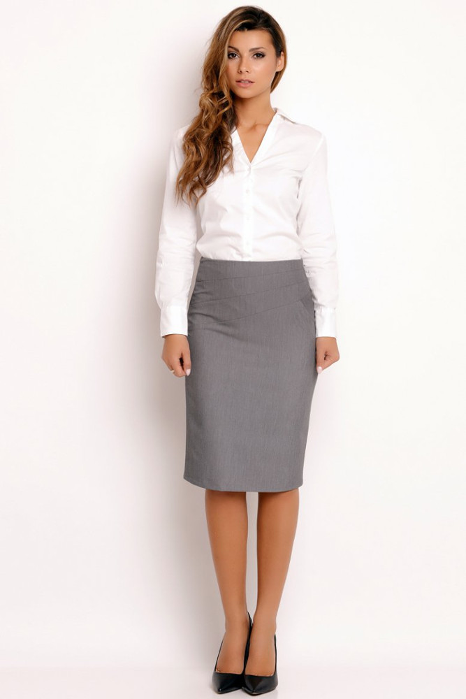 CM3328 Elegancka ołówkowa spódnica - szara