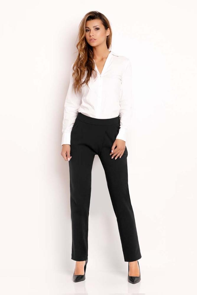 CM3330 Eleganckie biurowe spodnie - czarne