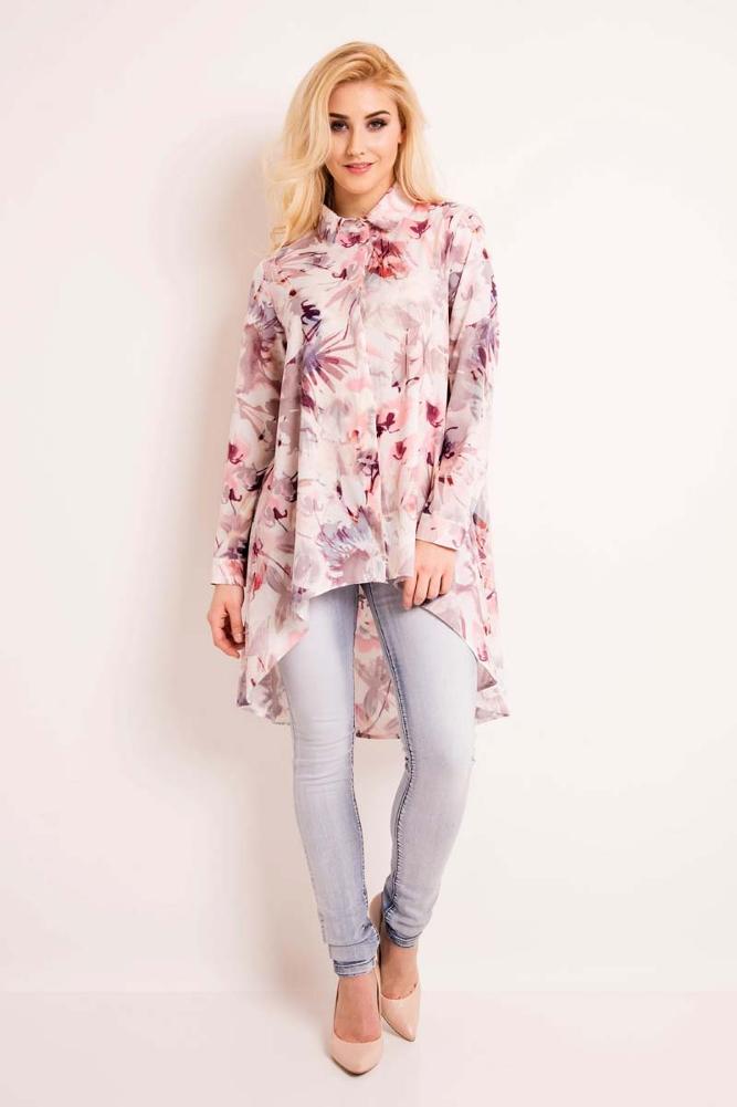 CM3334 Elegancka koszula w kwiaty - różowa