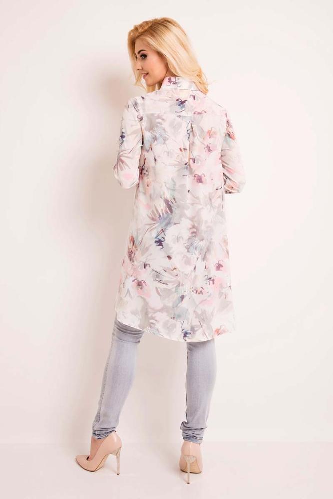 CM3334 Elegancka koszula w kwiaty - ecru