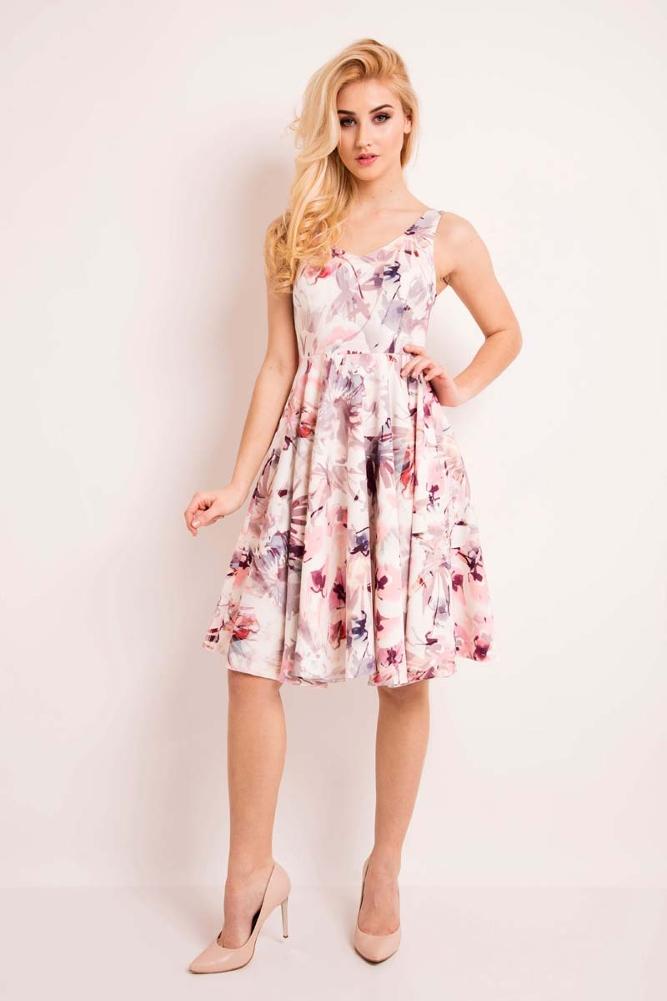 CM3335 Sukienka na ramiączkach z dekoltem - różowa