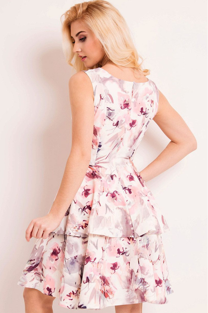 CM3337 Rozkloszowana sukienka w kwiaty z podwójną falbanką